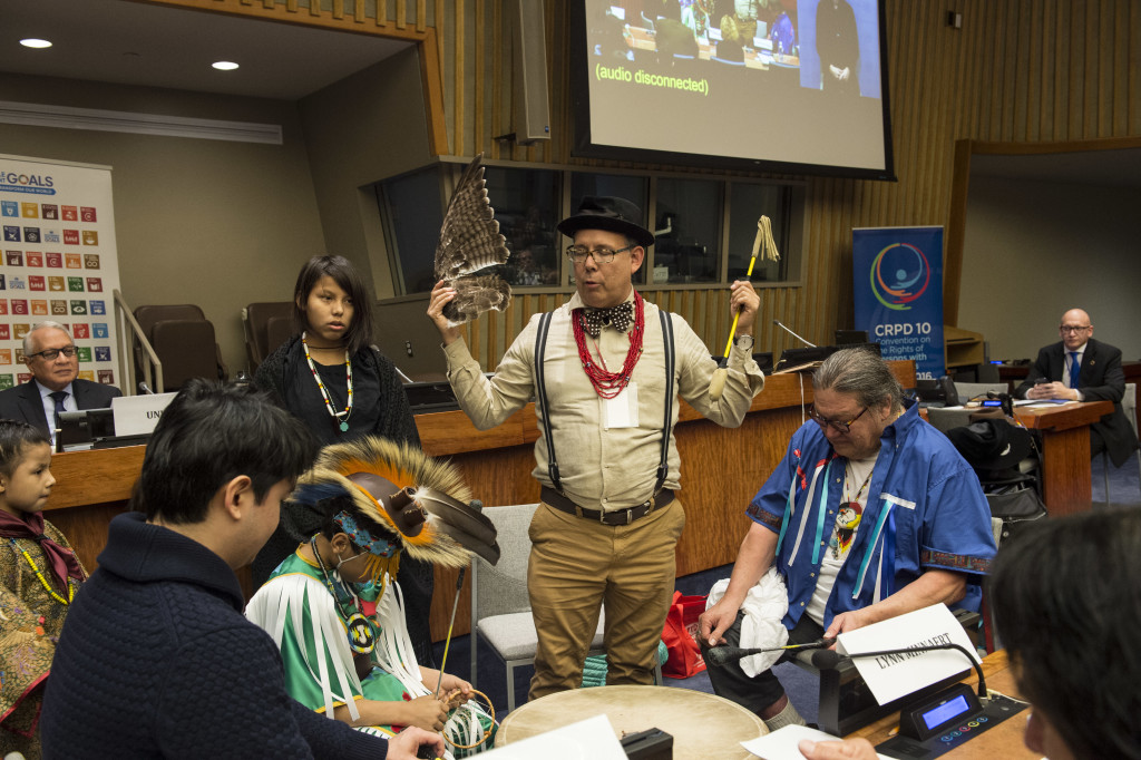 """Members of the American Indian Community from South Dakota perform at the start of the special event on """"Building Future Societies for All"""""""